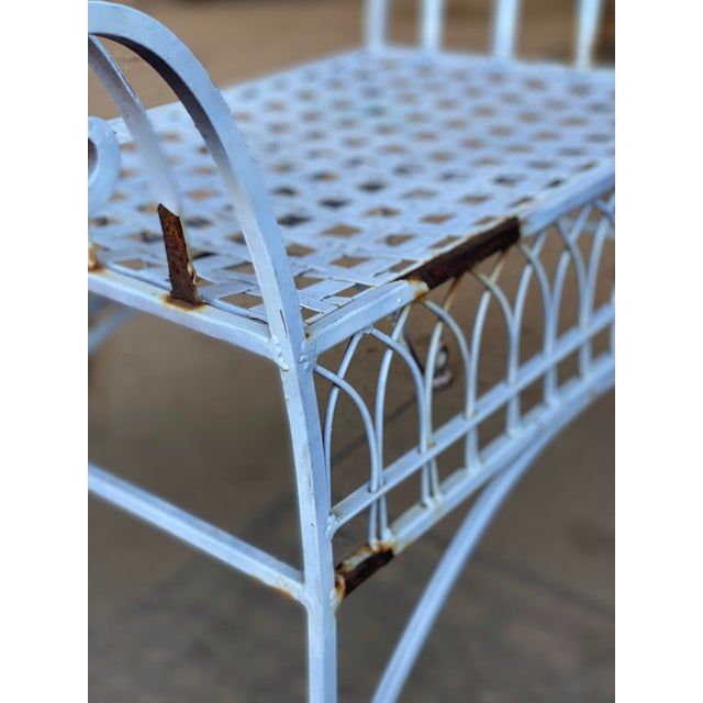Vintage Victorian White Wrought Iron Sculpted Patio Garden Bench For Sale - Image 6 of 12