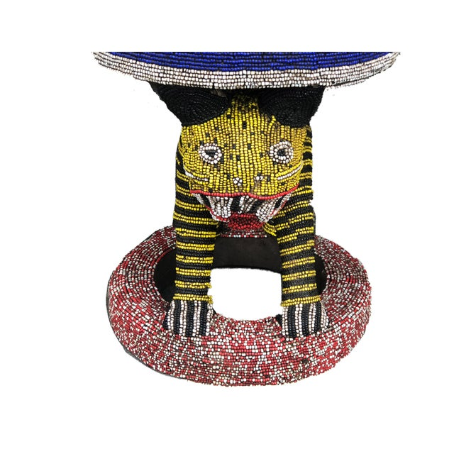 """Lg African Beaded Wood Bamileke Stool /Table Cameroon 18.25'""""h For Sale - Image 4 of 9"""