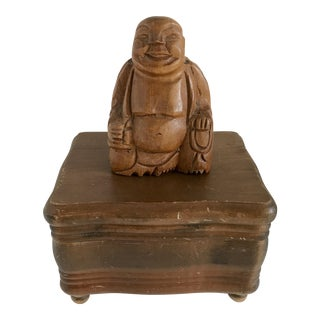 Vintage Buddha Wood Music Box For Sale