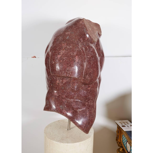 Stone Italian Porphyry Veneered Model of a Torso, After the Antique, Anthony Redmile For Sale - Image 7 of 11