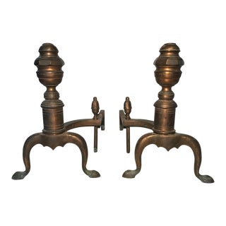 Pair of Bronze Andirons Circa 1920's For Sale