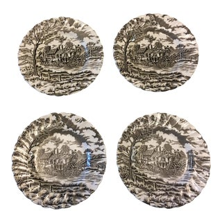 1950s English Traditional Staffordshire Ironstone Plates - Set of 4