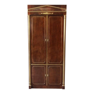 Mastercraft Burl Wood and Brass Lighted Bar Cabinet For Sale