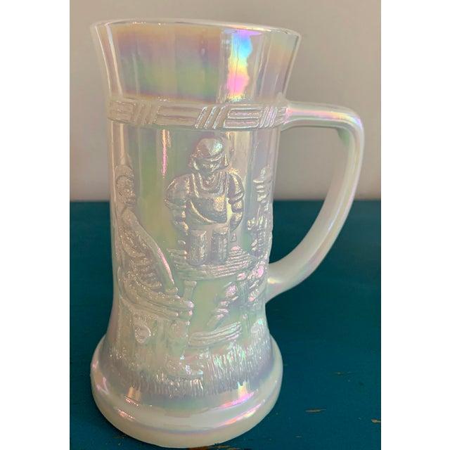 Mid 20th Century Mid-Century Fenton Federal Iridescent White Carnival Glass Tavern Scene Stein/Mug - Set of 4 For Sale - Image 5 of 9