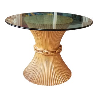 McGuire Sheaf of Wheat Table With Glass Top For Sale