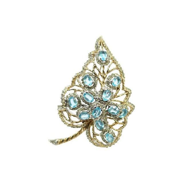Aqua Aqua Crystal & Rhodium Leaf Brooch, 1940s For Sale - Image 8 of 8