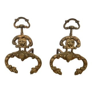 Vintage Brass Lion-Head Andirons - a Pair For Sale