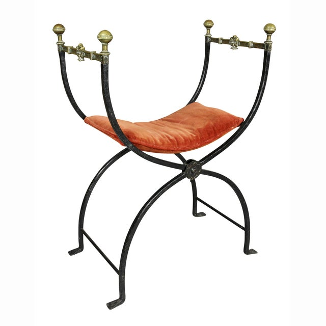 Italian Italian Wrought Iron and Bronze Curule Chairs - a Pair For Sale - Image 3 of 11