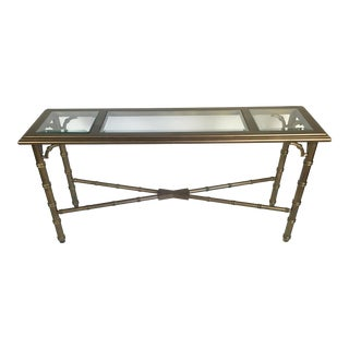 Lane Faux Bamboo Lacquered Sofa Table For Sale