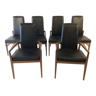 1960s Vintage Sculptural Walnut High Back Dining Chairs- Set of 6 For Sale