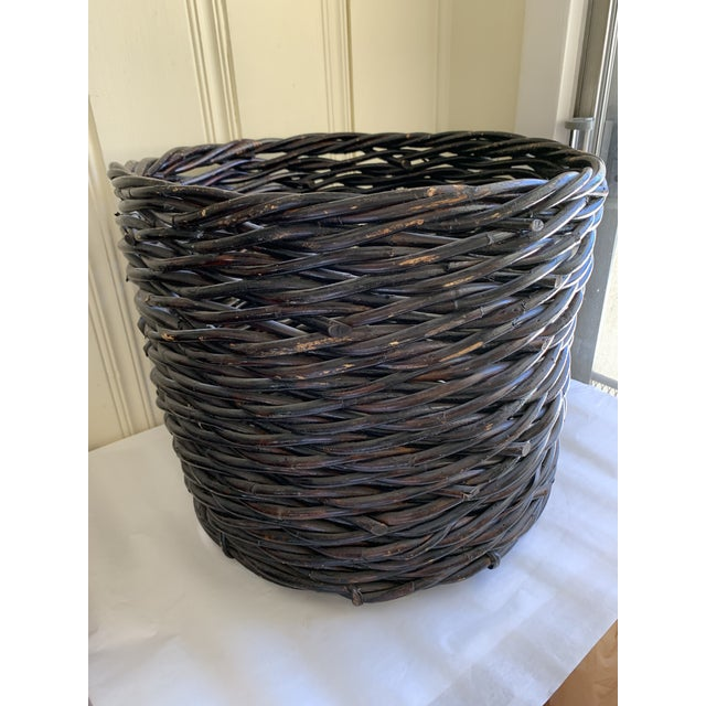 Large Rustic Earthy Wood Decor Storage Basket For Sale - Image 9 of 10