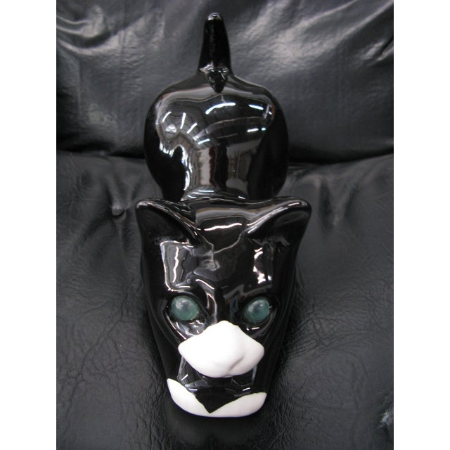White Alcobaca Black & White Ceramic Kitty Cat For Sale - Image 8 of 10