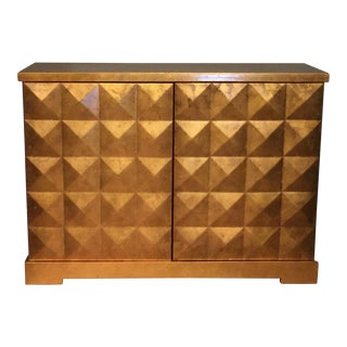Barbara Barry for Baker Gold Leaf Diamond Cabinet