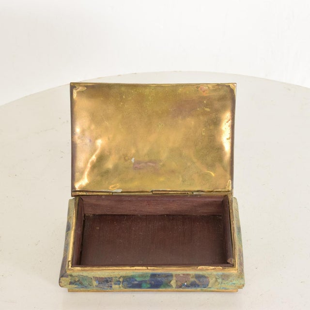 Metal Mid-Century Mexican Modernist Malachite & Brass Small Trinket Box For Sale - Image 7 of 9