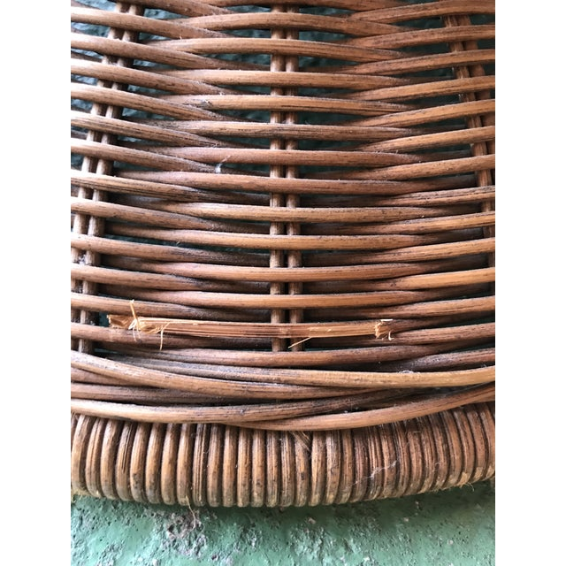 1980s Vintage Wicker Egg Chair and Ottoman For Sale - Image 5 of 12