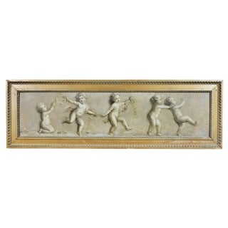 French Grisaille Oil Painting on Canvas of Putti For Sale