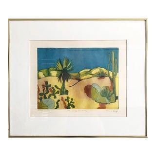 Vintage Colorful Desert Landscape Etching Print For Sale