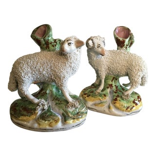 19th Century English Staffordshire Pottery Sheep Spill Vases - a Pair For Sale