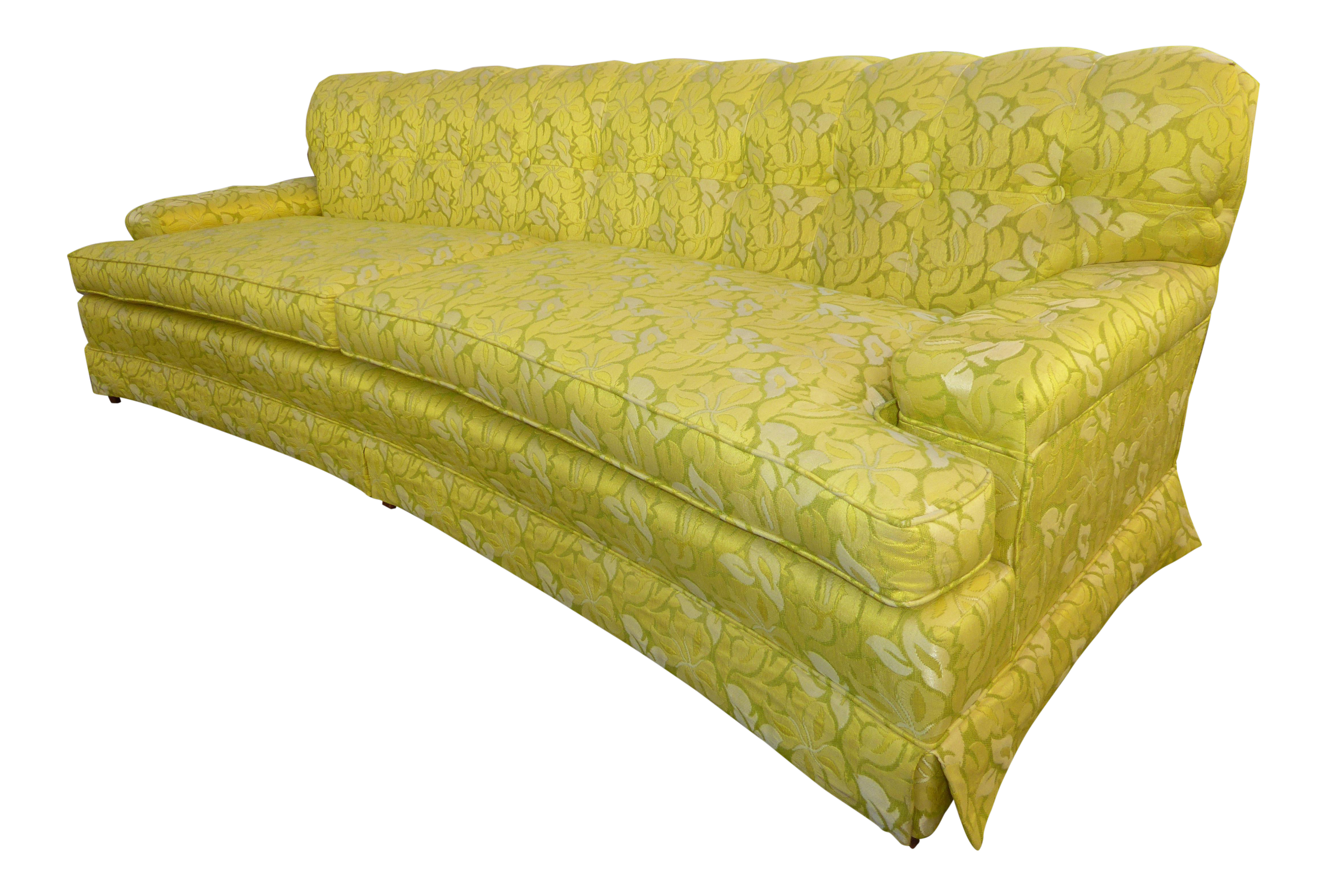 Delicieux Vintage Mid Century Modern Curved Front Yellow U0026 Green Floral Sofa For Sale