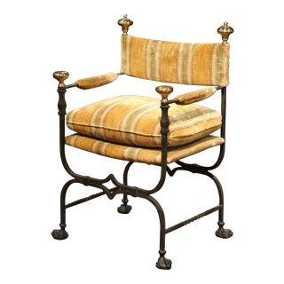 19th Century Italian Wrought Iron Campaign Armchair With Bronze Finials For Sale