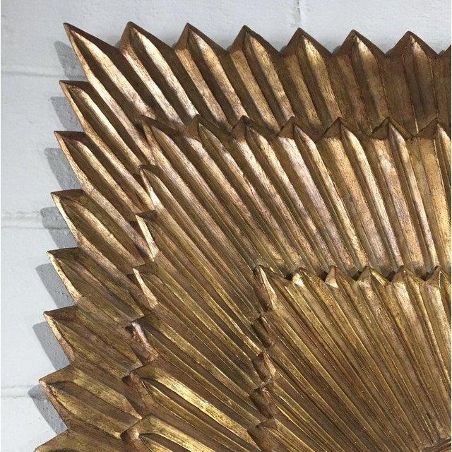 Italian Italian Rectangular Giltwood Sunburst Mirror For Sale - Image 3 of 10