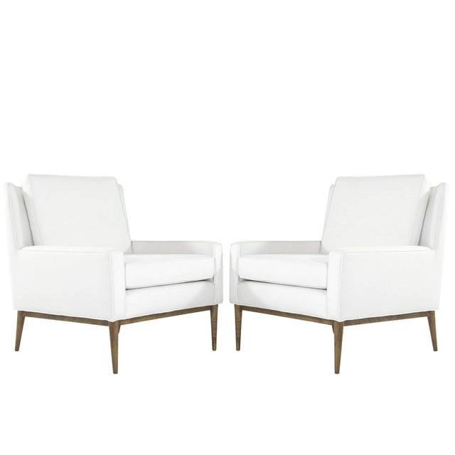 1950s Paul McCobb for Directional Linen Upholstered Lounge Chairs - a Pair For Sale - Image 12 of 12