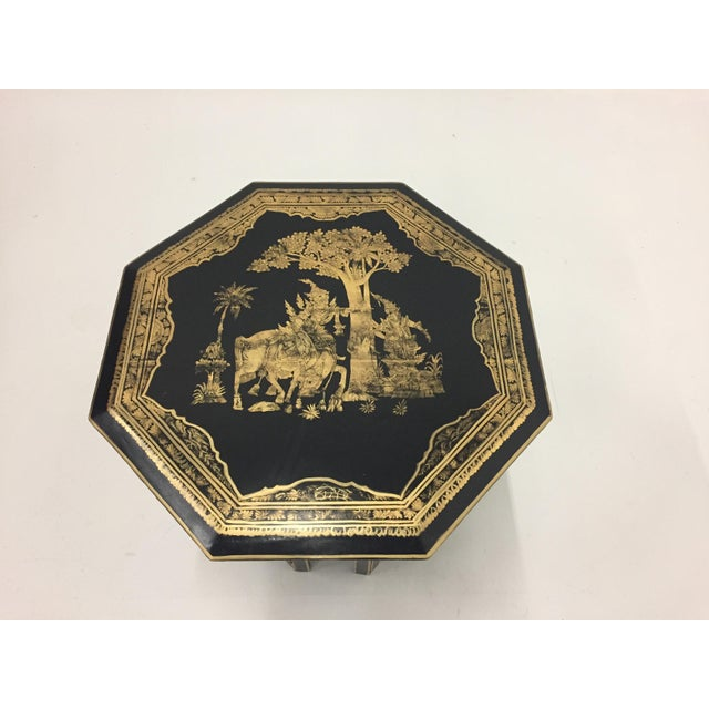 Gold Anglo-Indian Burmese Black and Gold Octagonal End Table For Sale - Image 8 of 11