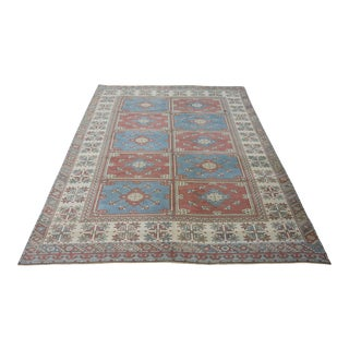 1970s Vintage Turkish Oushak Wool Rug- 6'3''x 8'4'' For Sale