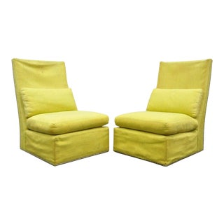 Vintage Thayer Coggin Mid Century Modern High Back Slipper Lounge Chairs - a Pair For Sale
