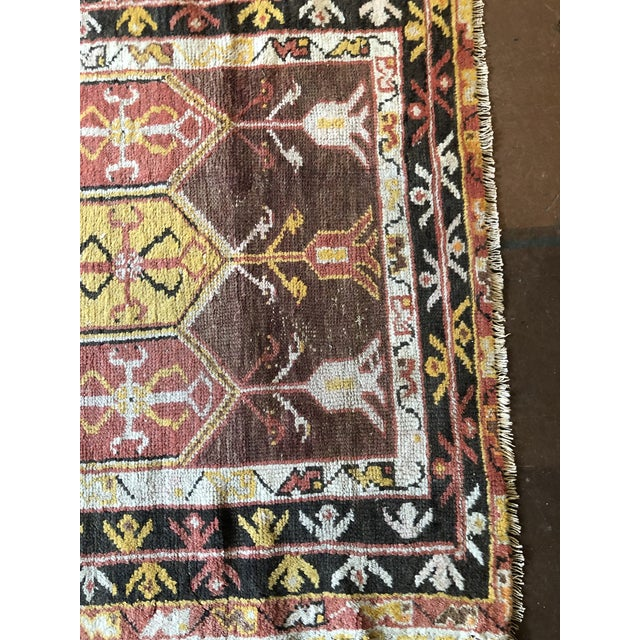 Red Antique Turkish Wool Prayer Rug For Sale - Image 8 of 9