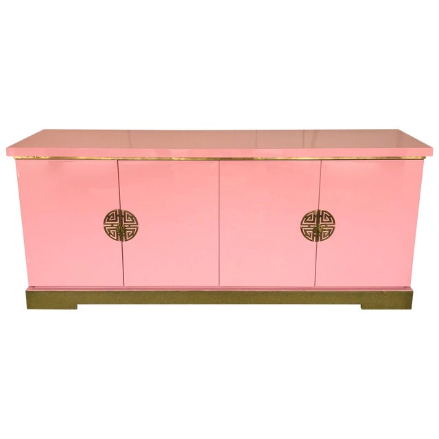 Sideboard Lacquered and Brass Japanese Style by Maison Jansen, France, 1970s For Sale