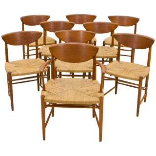 Set of Nine Danish Teak Dining Chairs by Peter Hvidt For Sale