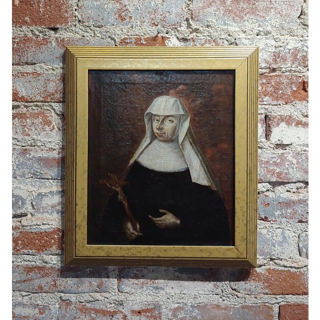 Brown 17th Century Italian Old Master -Portrait of a Nun - Oil Painting For Sale - Image 8 of 8