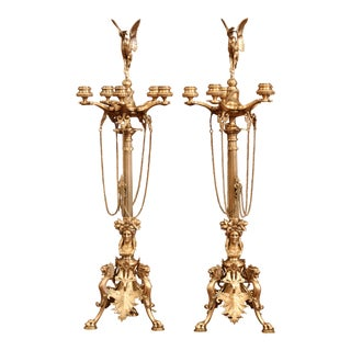 Pair of 19th Century French Patinated Bronze and Copper Five-Light Candelabras