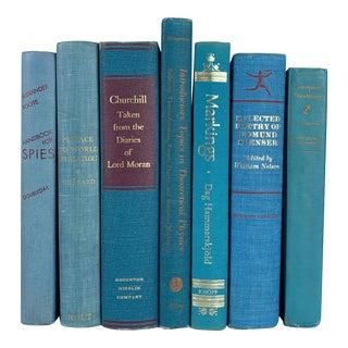 Vintage Aqua Decorative Books - Set of 7 For Sale
