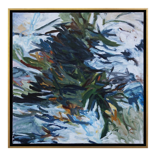 """Laurie MacMillan """"Spring Push"""" Botanical Abstract Painting, Framed For Sale"""