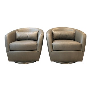 Thayer Coggin No 1170-113 Turn Swivel Chairs - a Pair For Sale
