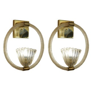 Stunning Pair of Large Barovier and Toso Sconces For Sale