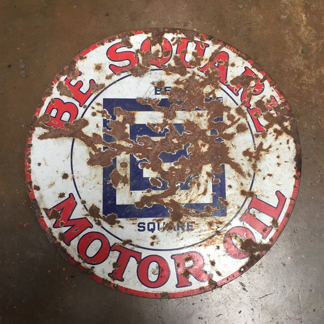 Large Be Square Motor Oil Sign Vintage Industrial - Image 5 of 6