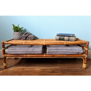 20th Century Japanese Bamboo and Rattan Floor Storage/Coffee Table Preview