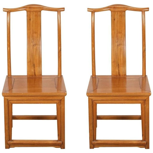 Brown Chinese Ming Style High Back Elm Chairs - a Pair For Sale - Image 8 of 8