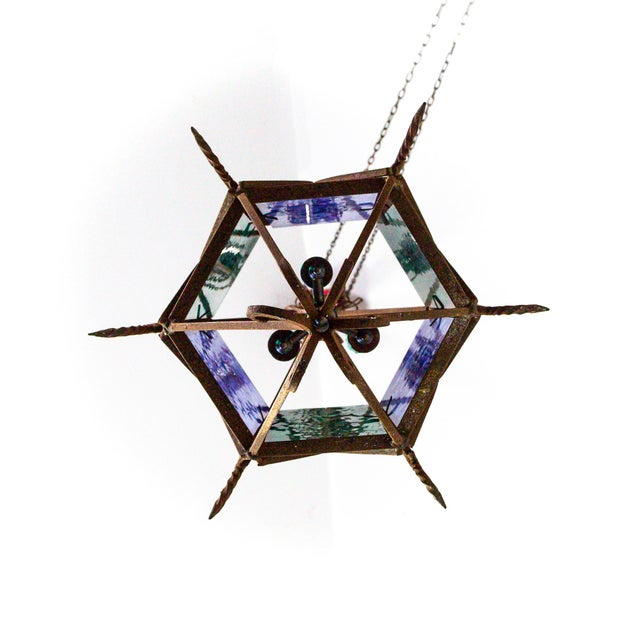 1920s Gothic Revival Lantern With Blue & Green Glass For Sale - Image 9 of 11
