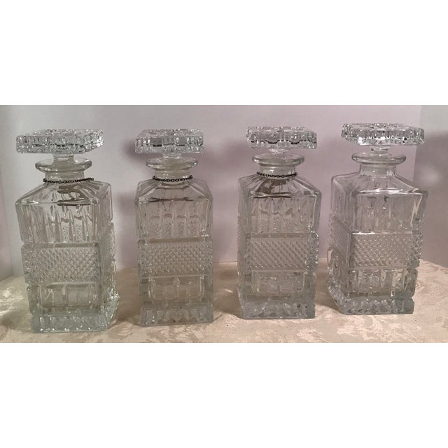 Mid-Century Modern Crystal Decanters With Hanging Tags - Set of 4 For Sale - Image 5 of 11