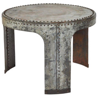 Industrial Iron Side Table For Sale