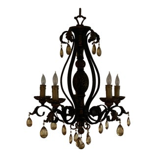 Chandelier Metal and Amber Crystals For Sale