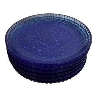 Art Deco Raised Decor Rare Blue Depression Glass Plates - Set of 6