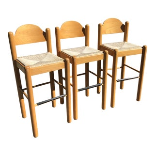 1960s Vintage Cassini by Vico Magistretti Beech Wood Bar Stools- Set of 3 For Sale