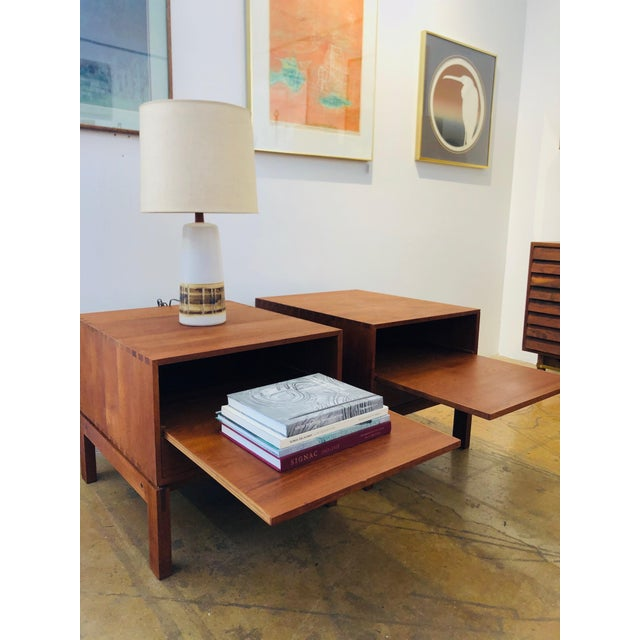 Mid-Century Modern Danish Nightstands by Johannes Aasbjerg - a Pair For Sale - Image 3 of 8