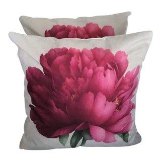 Pink Flower Accent Pillows - a Pair