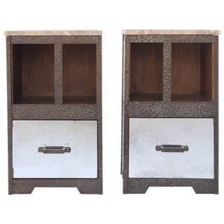 Pair of Iron and Antiqued Mirror End Tables With Limestone Tops For Sale